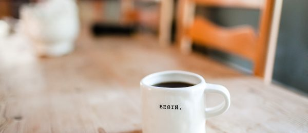 White coffee mug on a wooden table