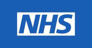 the blue and white NHS logo with NHS letters in blue on white background