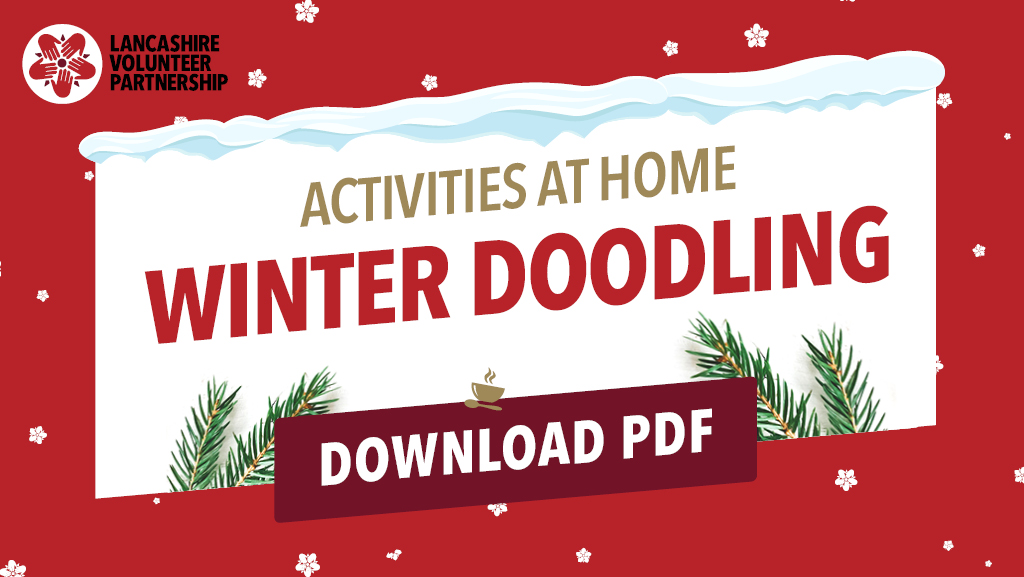 Activities at home - winter doodle graphic