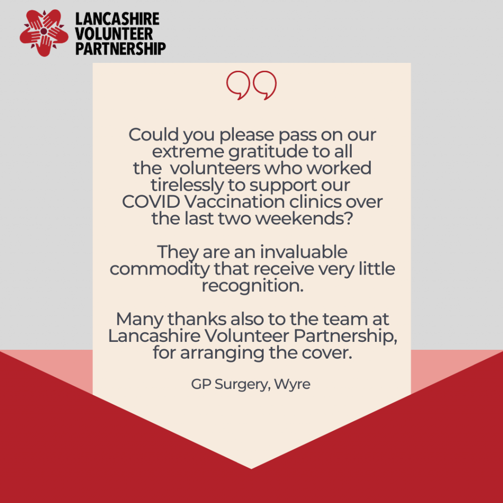 """Envelope with feedback from a GP surgery in Wyre saying, """"Could you please pass on our extreme gratitude to all the  volunteers who worked tirelessly to support our  COVID Vaccination clinics over the last two weekends?   They are an invaluable commodity that receive very little recognition.   Many thanks also to the team at Lancashire Volunteer Partnership, for arranging the cover."""""""