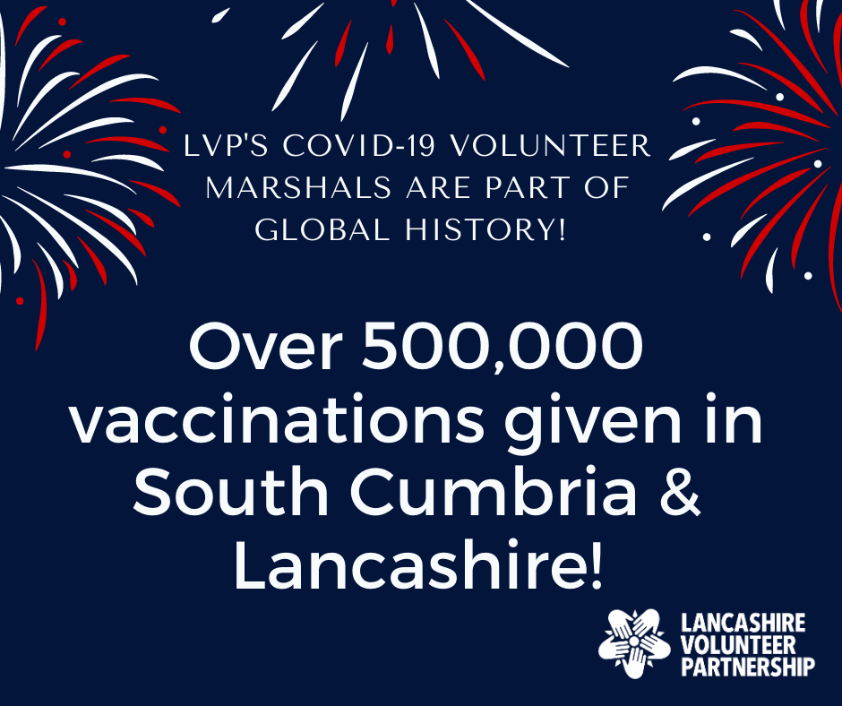 Over 500000 covid-19 vaccinations given in Lancashire and South Cumbria image, with fireworks in the background